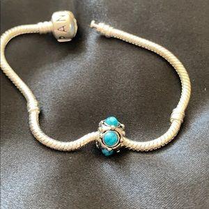 Turquoise stone charm for bracelet